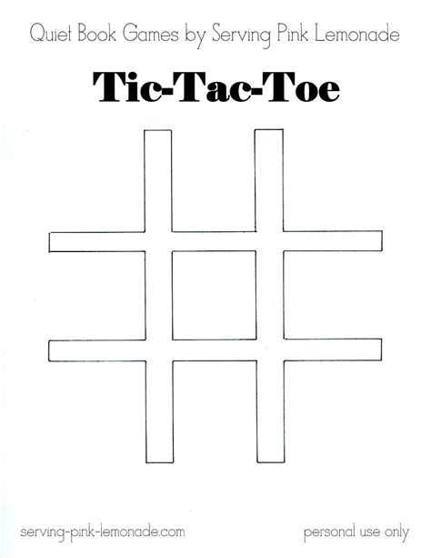 tic tac toe template serving pink lemonade book part 3 tic tac