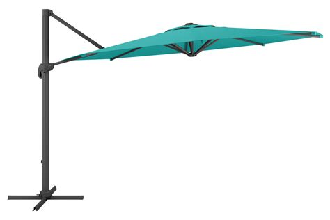 deluxe offset patio umbrella in turquoise blue