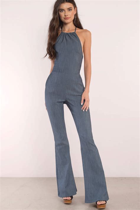 So Jumsuit blue jumpsuit open back jumpsuit chambray jumpsuit