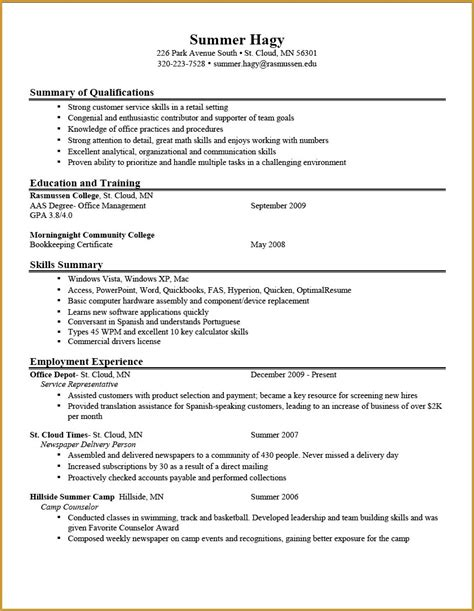 resume exles for college students resume sles