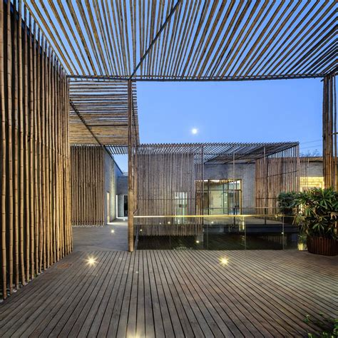 Terrace floor lighting floating bamboo courtyard teahouse in shiqiao china