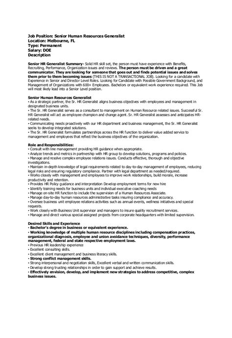 human resources generalist resume sle hr generalist resumes human resource generalist resume
