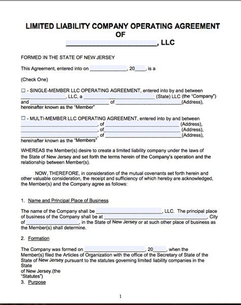 Free New Jersey Llc Operating Agreement Template Pdf Word Llc Articles Of Organization Nj Template