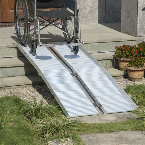 homcom  folding mobility wheelchair scooter threshold ramp portable aluminum ebay