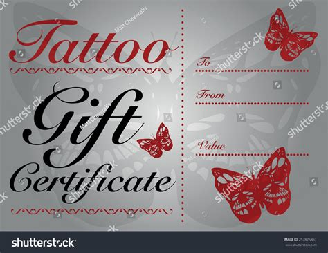 tattoo gift card butterfly skull gift card gift stock vector