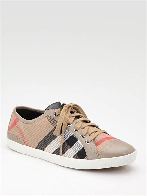 burberry shoes lyst burberry vintage sneakers in brown
