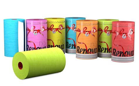 renova 2 ply faced coloured kitchen roll towel