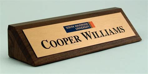 desk plates 2 quot x 8 quot solid walnut desk nameplate with premier color