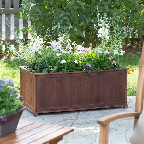 Coral Coast Aster Wood Patio Raised Planter Box Planters Patio Garden Planters
