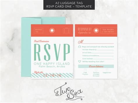 a2 card template a2 luggage tag rsvp card template invitation templates
