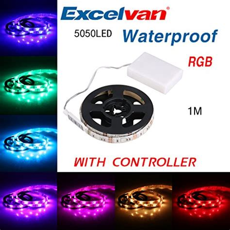battery powered colored led light strips excelvan 1m 3 3ft ip65 waterproof color changing rgb import it all