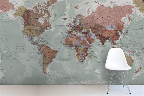Safari Map Mural Wallpaper Muralswallpaper - world map wallpaper uk wallpapersafari