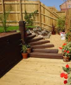 Patio Decking Railway Sleeper Steps Garden Decorating Garden Sleeper Ideas