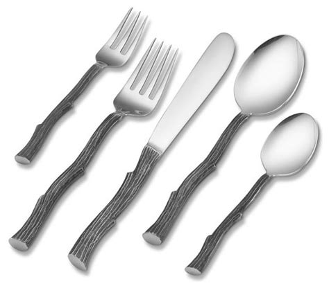 steel place setting set of 5 modern flatware and twig 5 piece place setting modern flatware and