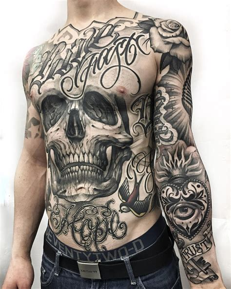 skull front man tattoo 3d tattoos