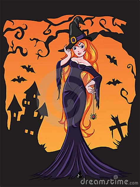 sexy halloween witch drawing royalty  stock photography image