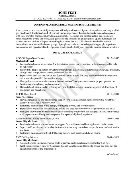 Millwright Resume Exle by Sle Gallery Resumes Career Services