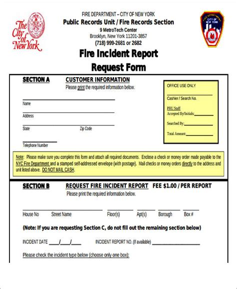 fire incident report template department best free