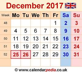 Calendar 2017 November And December Word Calendar December 2017 Uk Bank Holidays Excel Pdf Word