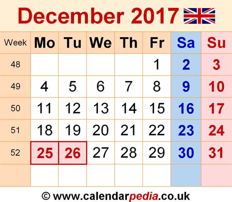 Calendar 2017 Monthly Uk Calendar December 2017 Uk Bank Holidays Excel Pdf Word