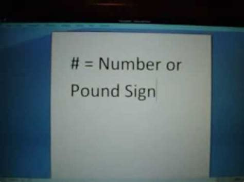 pound number number or pound sign