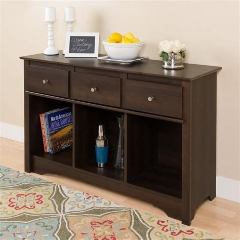 console sofa table with storage drawers espresso finish 3 drawer console table in espresso finish elc 4830 k