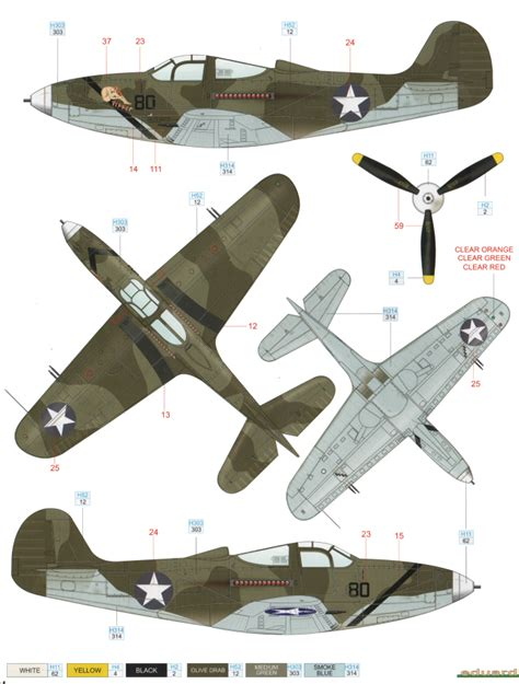 bell p 39 airacobra usaaf tri color camouflage color profile and paint guide