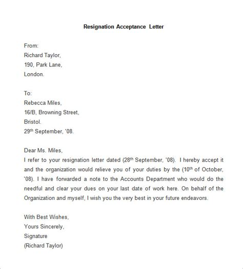Acceptance Of Your Letter Of Resignation Free Sle Acceptance Of Resignation Letter Resume Layout 2017