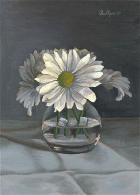 Daisies In A Vase by Paul R Keysar Daisies In Vase Still Floral Painting