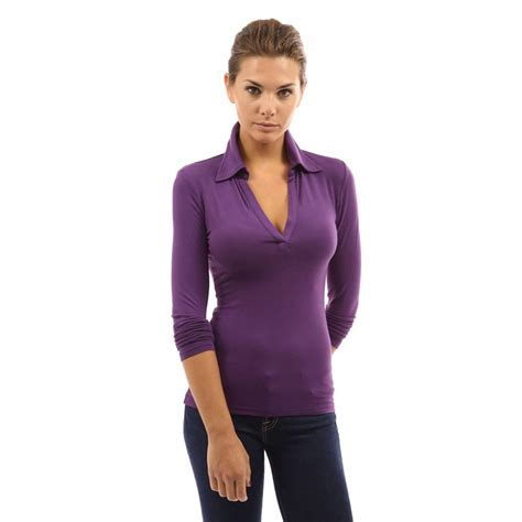 Sleeve Fit Top womens v neck polo shirt sleeve slim fit casual