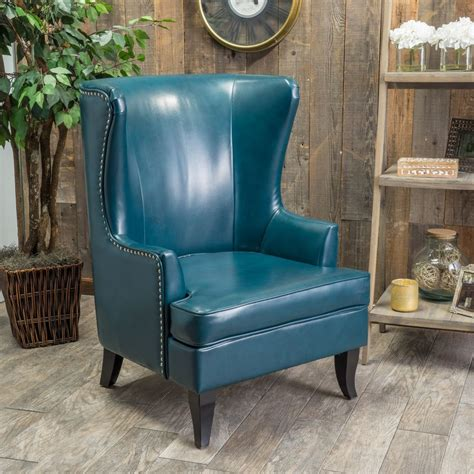 leather chair living room living room furniture tall wingback teal blue leather club