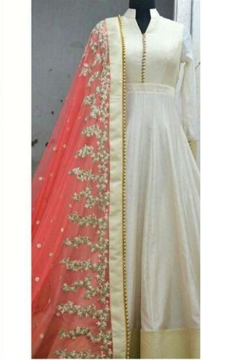 dress design in white colour buy party wear banglori silk anarkali suit in off white