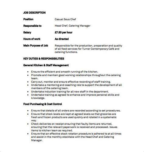 Banquet Chef Description by Sous Chef Description Template 8 Free Word Pdf Format Free Premium Templates