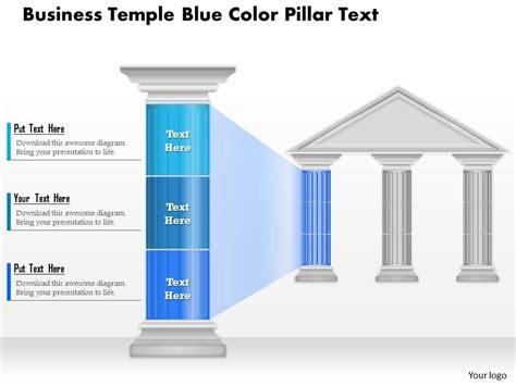 0914 Business Plan Business Temple Blue Color Pillar Text Powerpoint Presentation Template Strategic Pillars Template