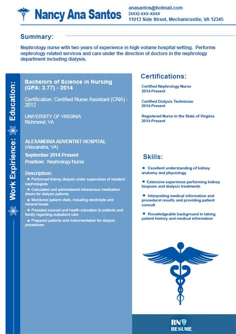 Sample Rn Nursing Resume by Nephrology Nurse Resume Sample