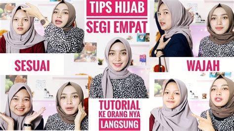 tips  tutorial hijab segi empat sesuai bentuk wajah