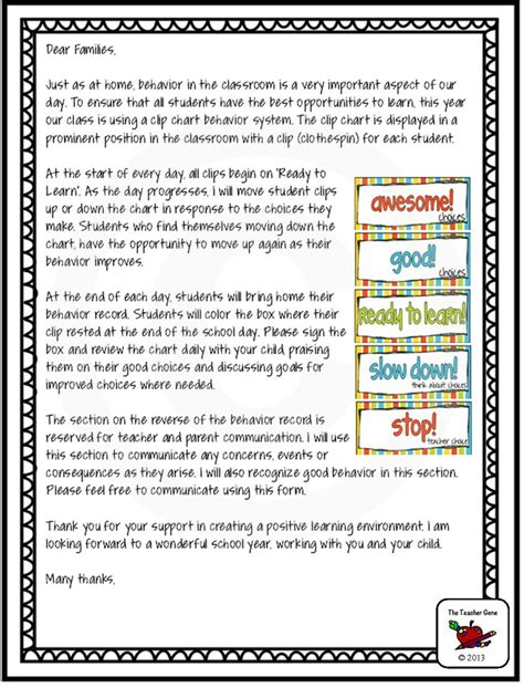 Parent Letter Explaining Clip Chart Sle Letter Home To Parents For Behavior Sle Business Letter