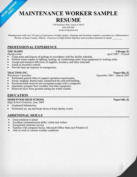 maintenance worker resume sle resume ideas