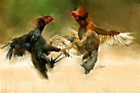 Roman Home Decor Rooster Fight Hd Painting By Charlie Roman