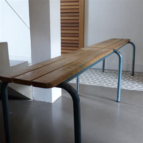 banc en metal banc d 233 colier en bois et pieds en m 233 tal 6 dispo