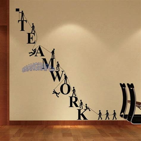 office wall decorations teamwork letters wall sticker removable decal vinyl