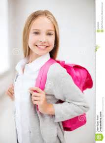 images teenage girl:  and school concept happy and smiling teenage girl with school bag