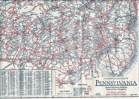 road map of pennsylvania 1920 s company road maps of pennsylvania