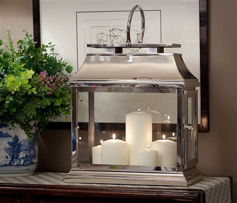 nickel rectangular lantern home decor