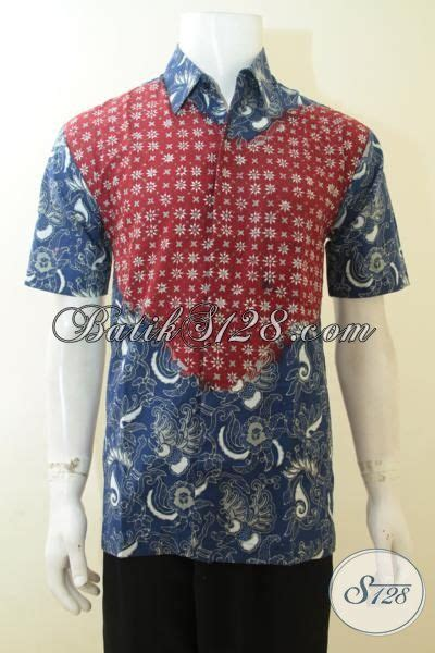 Baju Batik Warna Biru Muda hem batik keren untuk kerja baju batik warna biru kombinasi merah batik lengan pendek dua khas