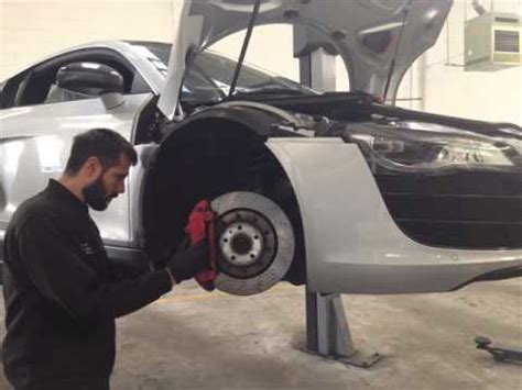 this is how we replace the front brake pads on an audi r8 in under a minute youtube