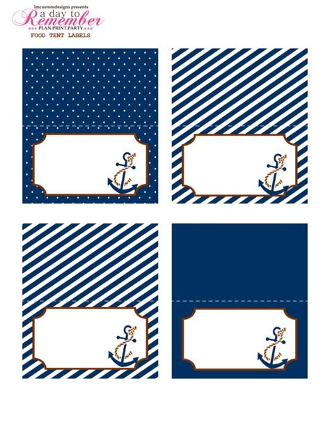 nautical food tent labels instant download digital file