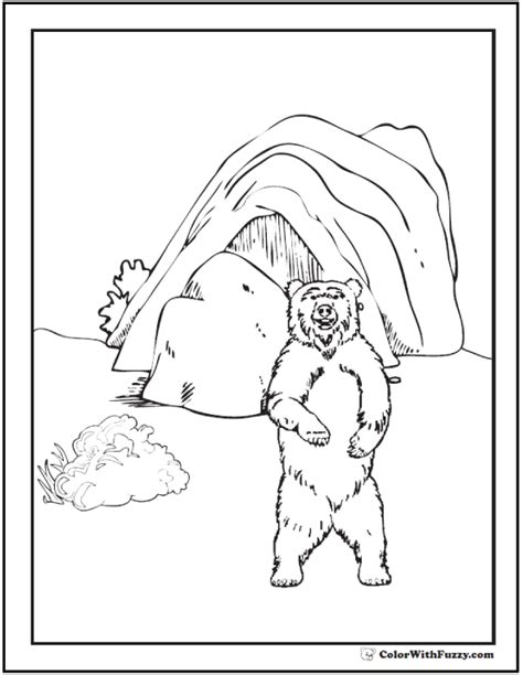 bear den coloring page coloring pages bear and den shows a grizzly brown bear