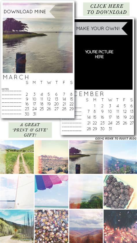 Customizable Instagram Calendar Going Home To Roost Instagram Calendar Template