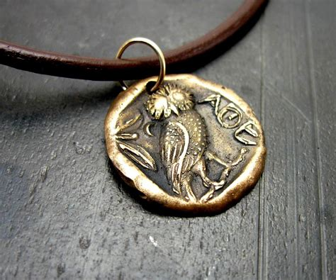 mens owl necklace coin jewelry bronze mens leather